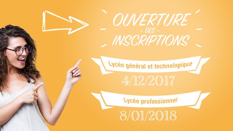Lycée général et technologique : 4/12/2017; Lycée professionnel : 8/01/2018