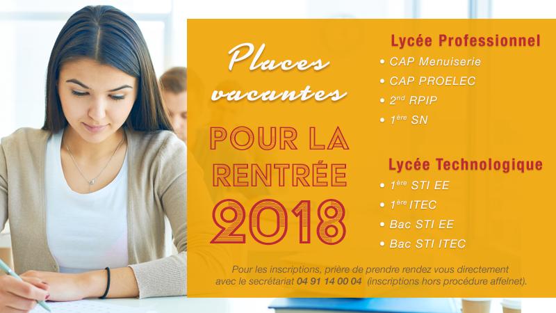Places vacantes pour la rentrée 2018